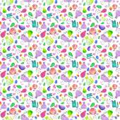 Seamless pattern with cartoon cats, birds and flowers. Hand-drawn background. Vector illustration. — Stock Vector