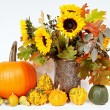Decoration with pumpkins and sunflowers — Stock Photo #65930615
