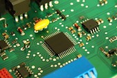 Printed computer motherboard with microcircuit — Stock Photo