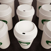 Paper Coffee Cups in Rows — Stockfoto