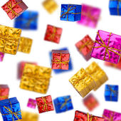 Colorful gift boxes on white background — Stock Photo