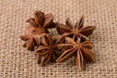 Star anise flowers on sacking — Stock Photo
