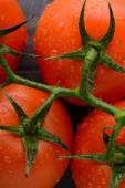 Fresh tomato on wooden table close up — Stock Photo
