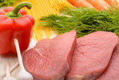 Fresh vegetables, raw veal  — Stock Photo