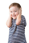 Little boy in a striped vest with closed ears — Stock Photo