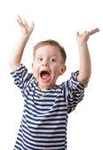 Portrait of a little boy in a striped vest  — Stock Photo
