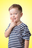 Little boy with his finger to his mouth  — Stock Photo