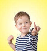 Little boy with a forefinger  — Stock Photo