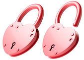 Red heart-shaped lock — Stock Photo