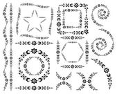 Set of vector decorative elements and brush — Vector de stock
