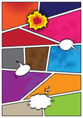 Comics popart style blank layout template background — Vector de stock