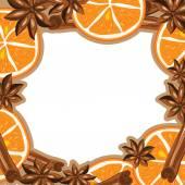 Frame - cinnamon, star anise and orange. Vector illustration. — Stock Vector