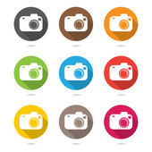 Hipster photo or camera icon set  with shadow — Stock Vector