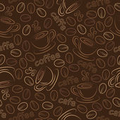 Seamless pattern with cups and coffee grains. Vector. — Stockvektor