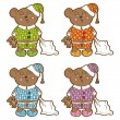 Sleepy bear in pajamas with a pillow and soft toy his hands. Set different colors. — Stock Vector #52264701