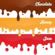 Chocolate, honey, jam drips — Stock Vector #52265083