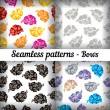Bows. Set of seamless patterns. — Stock Vector