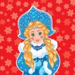 Snow Maiden on a blue background with white snowflakes. — Stock Vector #52266977