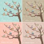 Postcard, an owls on a tree, winter — Stock Vector #52266981