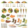 Rubber boots, umbrellas, rain. Vector set. — Stock Vector #52267003