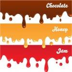 Chocolate, honey, jam drips — Stock Vector #52267757