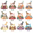 Owls in winter hats colored vector — Stock Vector #52268255