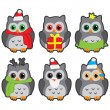 Owls in winter hats colored vector — Stock Vector #52268397