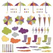Rubber boots, umbrellas, rain. Vector set. — Stock Vector #52268583