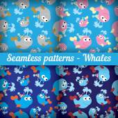 Whales seamless pattern — Stock Vector