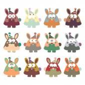 Rabbits in retro style. — Stock Vector