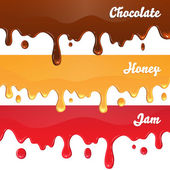 Chocolate, honey, jam drips — Stock Vector
