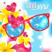 Love and the sea vector summer light illustration — Stockvektor