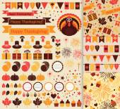 Happy Thanksgiving set — Stock Vector