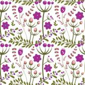 Leaves, twig, flowers, floral pattern. — Vector de stock