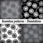 Dandelions. Set — Stock Vector