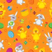 Easter eggs, bunnies, flowers, chickens — Stock Vector