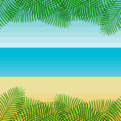 Beach with palm leaves. — Vector de stock