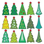 Set of Christmas icons trees — Stock Vector