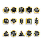 Colorful gems - black. Set realistic gemstones — Vector de stock