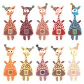 Giraffes in retro style. — Stock Vector