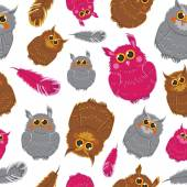 Seamless pattern with colored owls. — Stock Vector