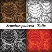 Shaped balls seamless patterns. — Stock Vector