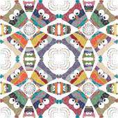 Owls background seamless pattern — Stock Vector