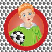 Boy soccer player on the background — Stock Vector