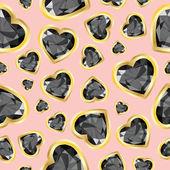 ハートの形の貴重な石です。シームレスなベクター パターン. — ストックベクタ