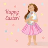 Happy Easter card with a girl — Stock Vector