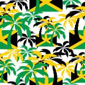 Palm trees in Jamaica colors. Seamless background. — Stock Vector