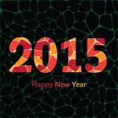 Happy New Year 2015 colorful greeting card made in polygonal origami style. — Stock Vector