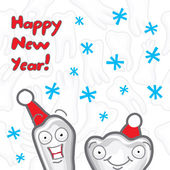 Happy New Year greeting card with Teeth — Stock Vector
