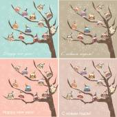 Postcard, an owls on a tree, winter — Stock Vector